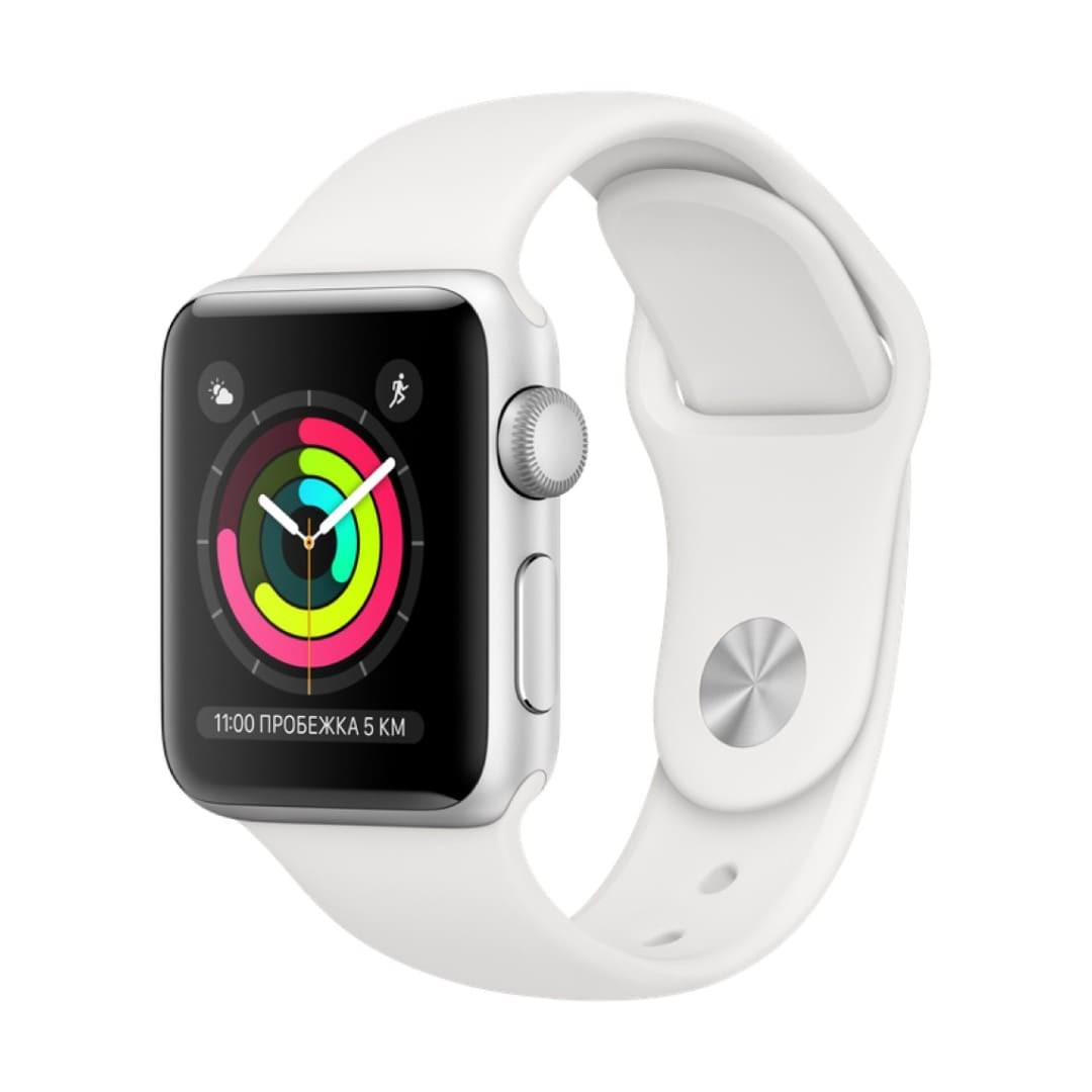 Apple Watch Series 3 38mm Silver Aluminum Case with White Sport Band картинка 1