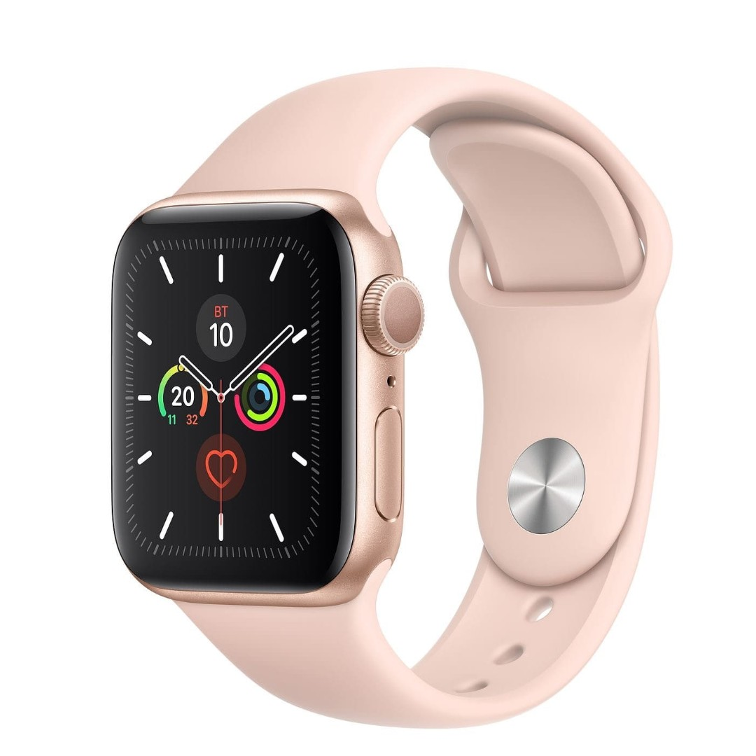 Apple Watch Series 5 44mm Gold Aluminum Case with Pink Sand Sport Band картинка 1