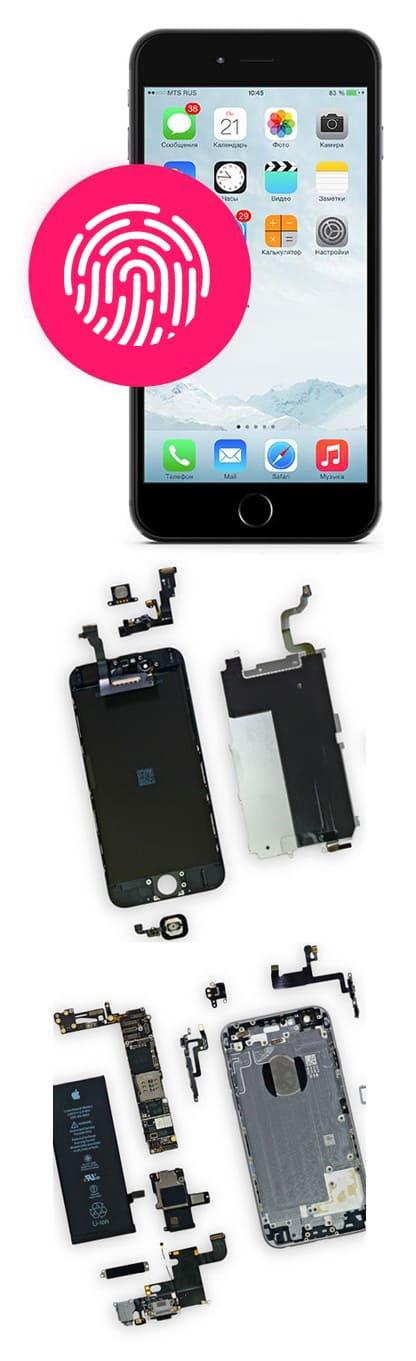 Ремонт и замена Touch ID на iPhone 6s, 6s plus в Нижнем Новгороде